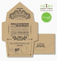Open-Me- Softly eco-friendly invitation, self-mailer, kraft paper, quirky & whimscial // SAMPLE. $3.50, via Etsy.