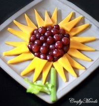 Sunflower plate! Grapes, celery, & cheese