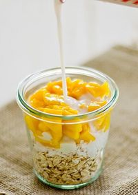 Coconut Mango Overnight Oatmeal Ingredients 1/2 c rolled oats 1/2 c unsweetened almond milk (or any milk can be used) 1/2 c mango diced 1 tbsp shredded coconut 1 1/2 tbsp. agave nectar (honey, raw sugar, brown sugar, artificial sweetener can b...
