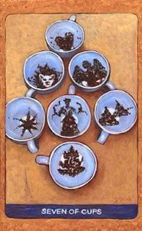 The 7 of Cups becomes a tea leaf divination from the magical deck in progress, Tarot de St Croix by Lisa de St Croix