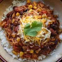 *our dinner tonight-used regular diced tomatoes without chiles and added can of corn the last 20 minutes instead of frozen corn at the beginning. In crock pot on low for 6 hours-added sour cream and Frito chips. Super yummy, relatively healthy*Low Fat Cro...