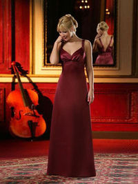 A-line Straps Satin Floor-length Ruched Bridesmaid Dresses