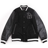 LA Men's Black Leather Sleeves Varsity Jacket