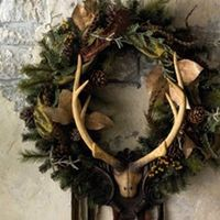 natural wooded wreath w/ antlers www.yournestdesign.blogspot.com