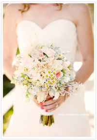Garden rose, Dusty Miller, Jasmine, Dahlia and mini Daisies wedding bouquet